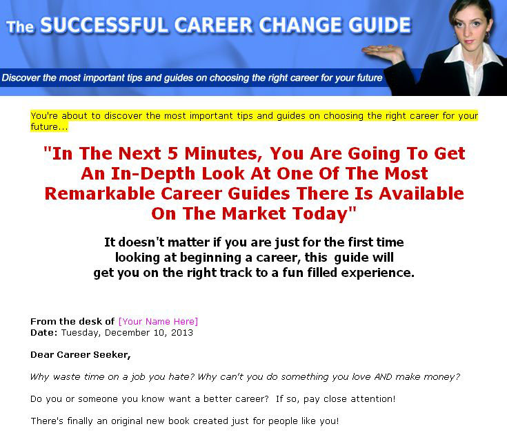 Career Change Guide PLR Ebook