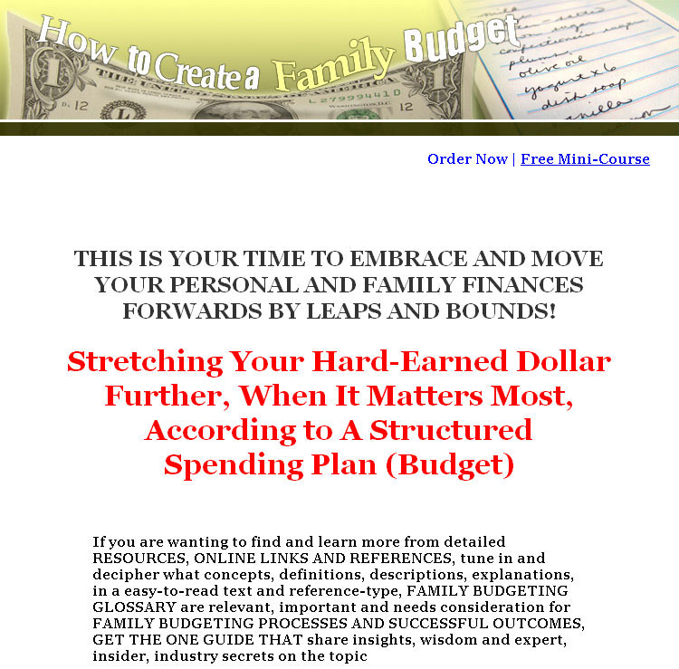 How To Create A Family Budget Plr Ebook