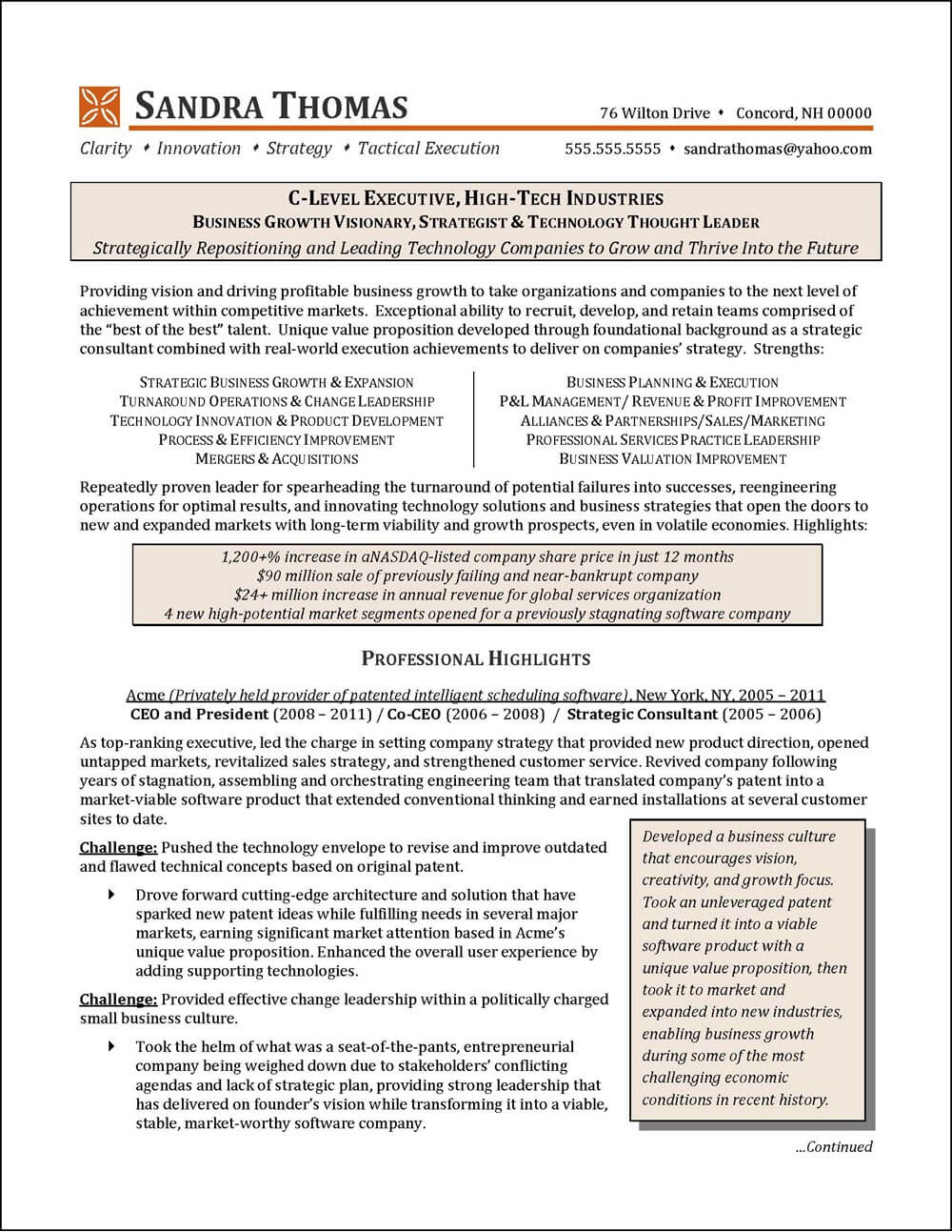 executive consultant resume examples