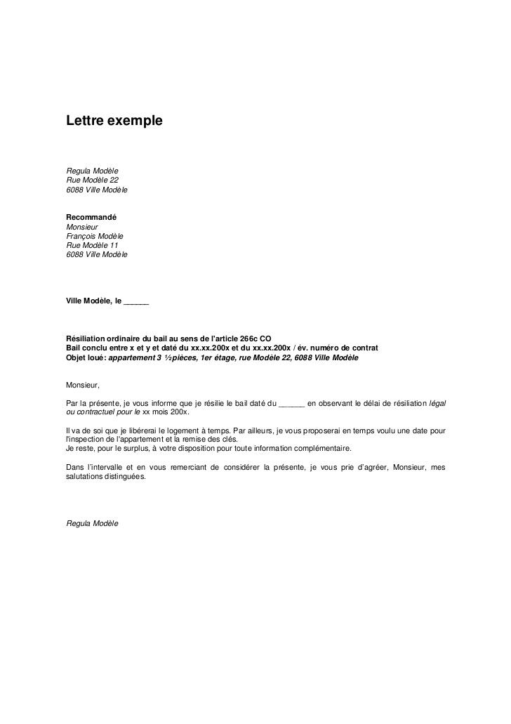 lettre de resiliation bail commercial