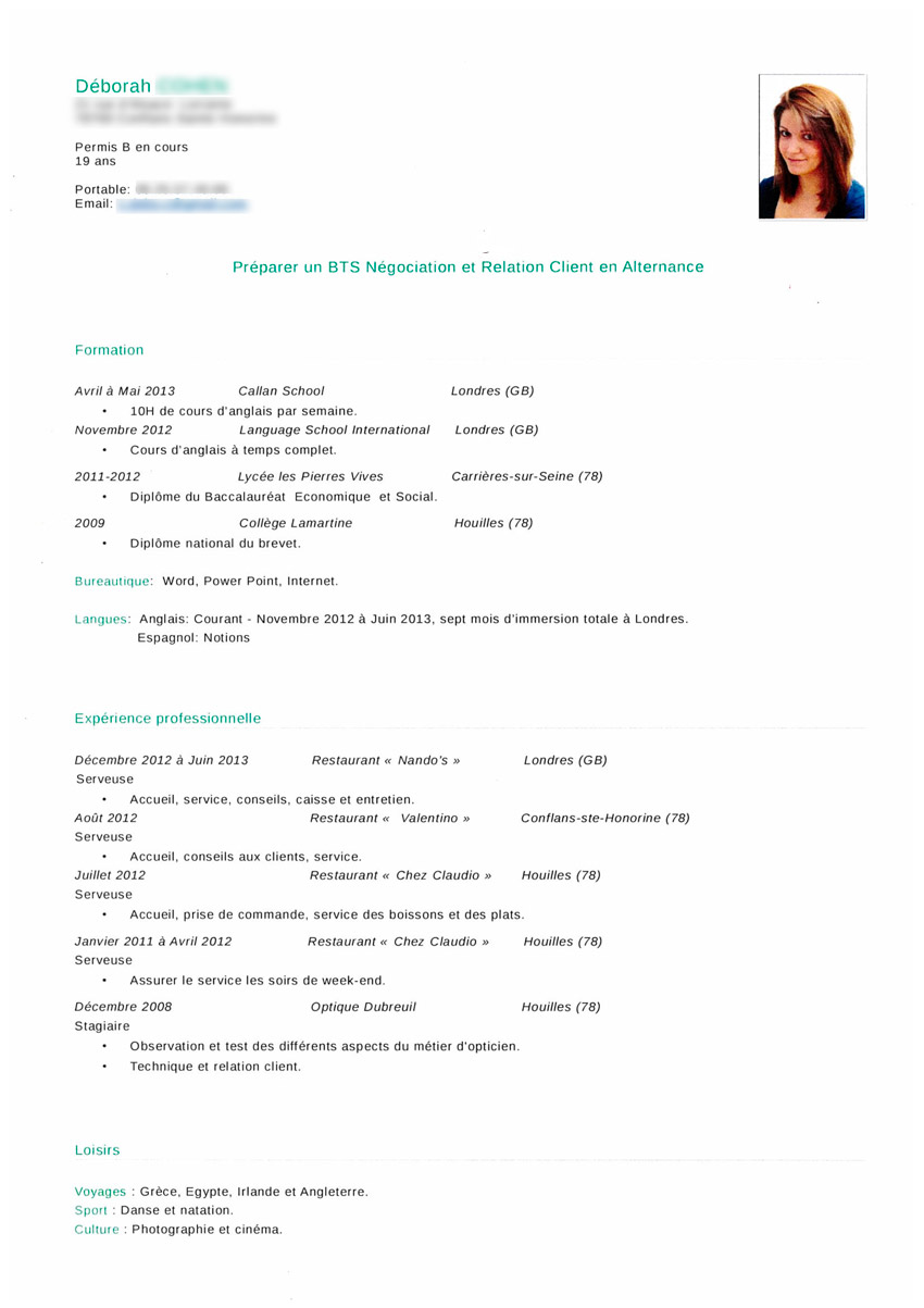 cv job ete allemand