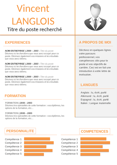 modele cv gratuit sans photo commercial experimente