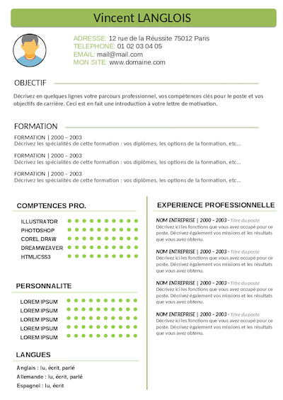 competences cv alternance