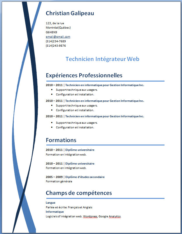 fond de page cv a telecharger gratuitement