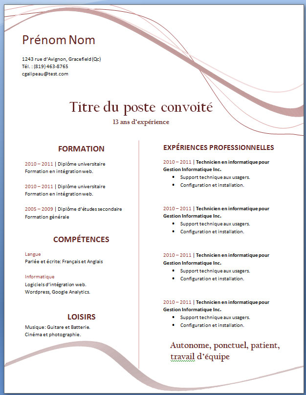 impossible de modifier un cv word