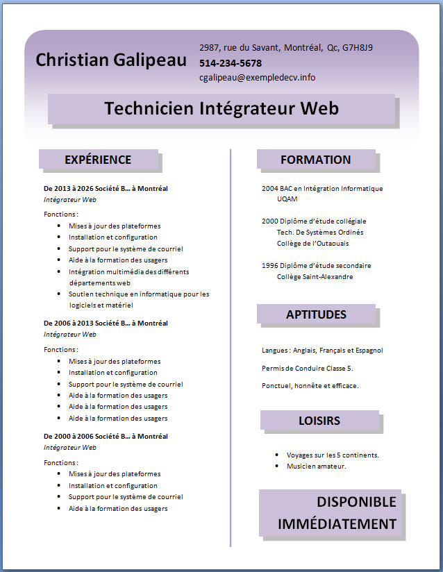 creer cv gratuit tablette