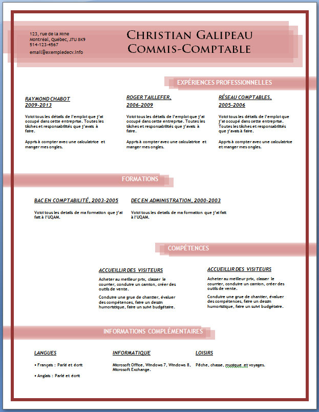 modele cv word gratuit moderne sans photo