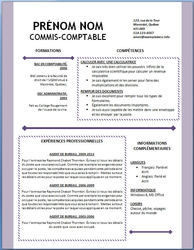 exemples cv a telecharger open office