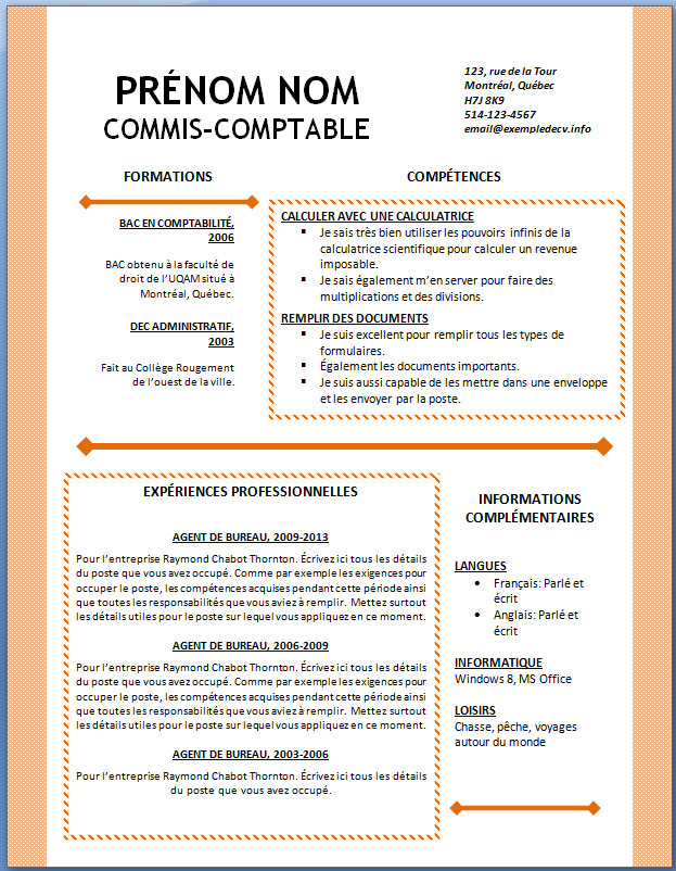 information complementaire cv exemple