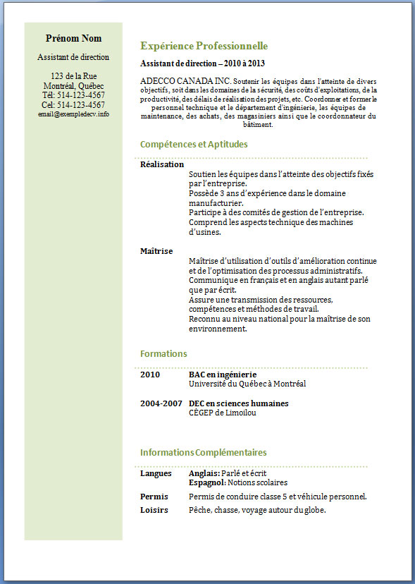 exemple de cv assistant de direction