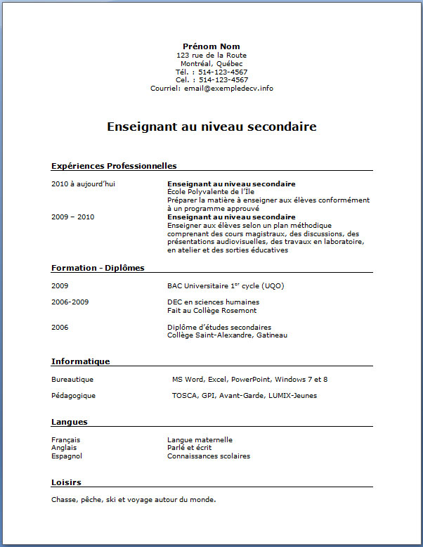 exemple de cv enseignant au secondaire