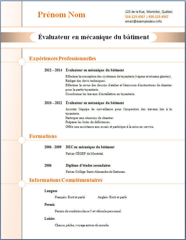 cv moderne comment faire word