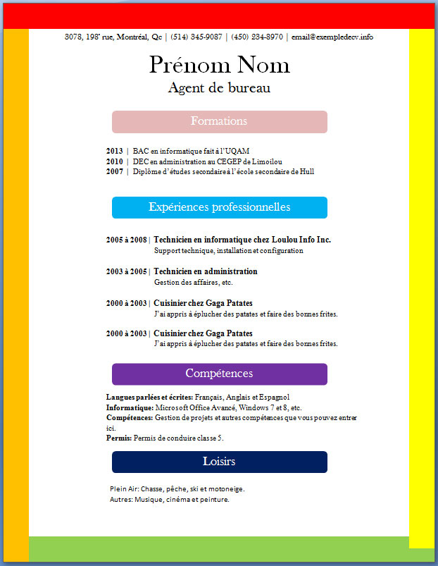 cv exemple couleur