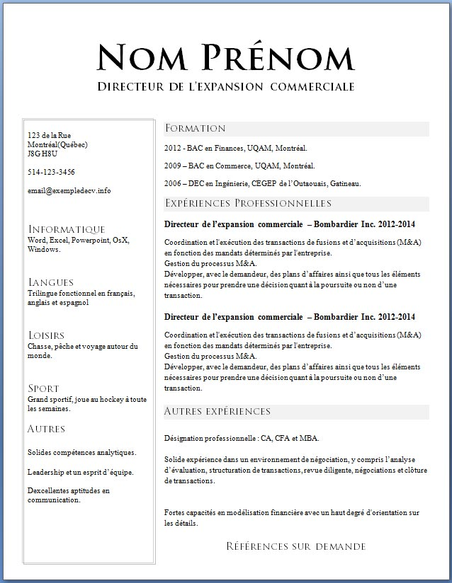cv quebecois stage informatique