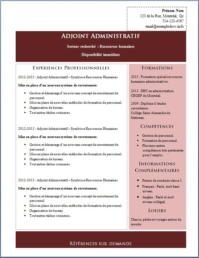 cv competences administratives
