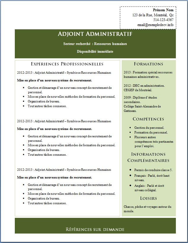 competences administratives ressources humaines cv