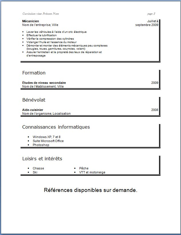 exemple de cv simple pour la faculte