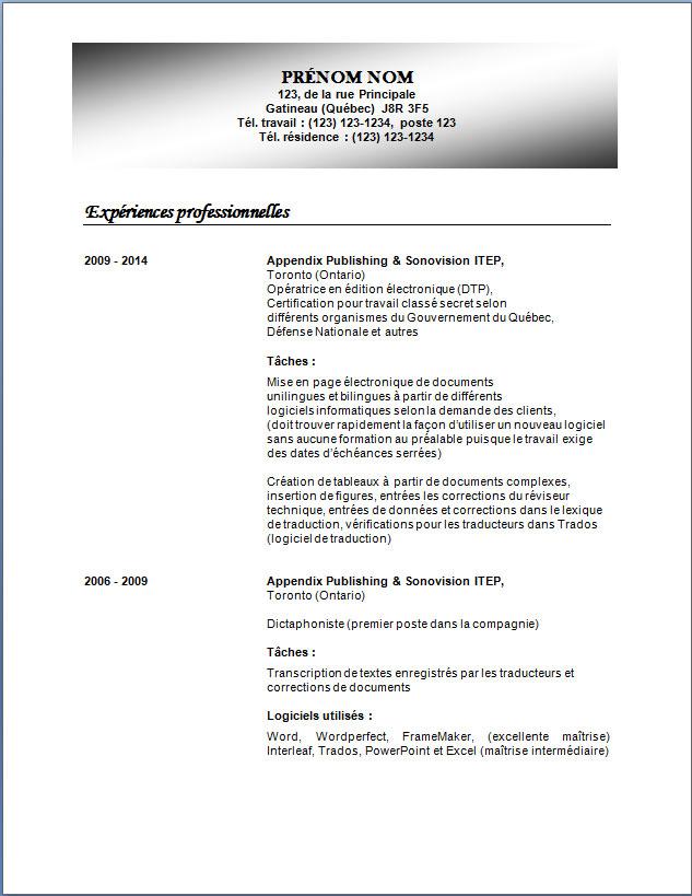 cv model classique