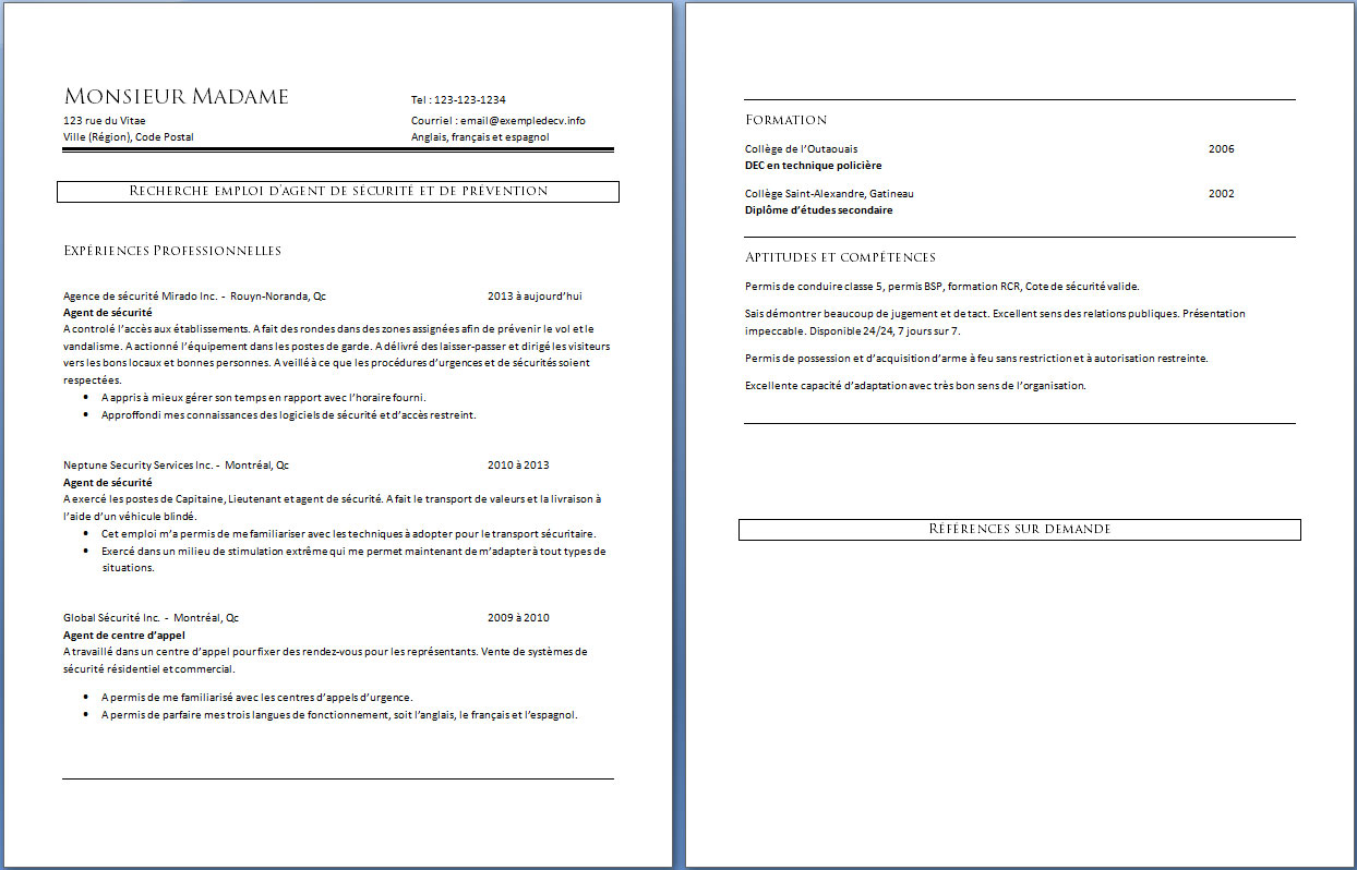 exemple de cv agent de securite word