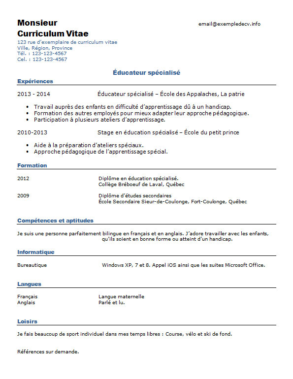 cv competence educateur specialise
