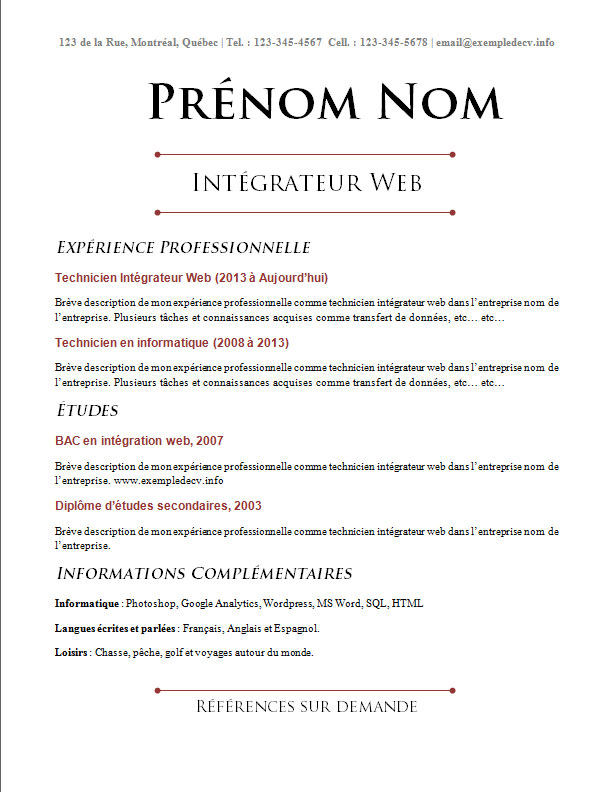 exemple de cv technicien informatique word
