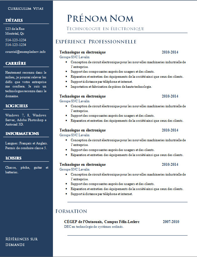 Sample Resume Free Resume Examples Mod232;les De Cv 832 224; 838 – Exemple De Cv Info