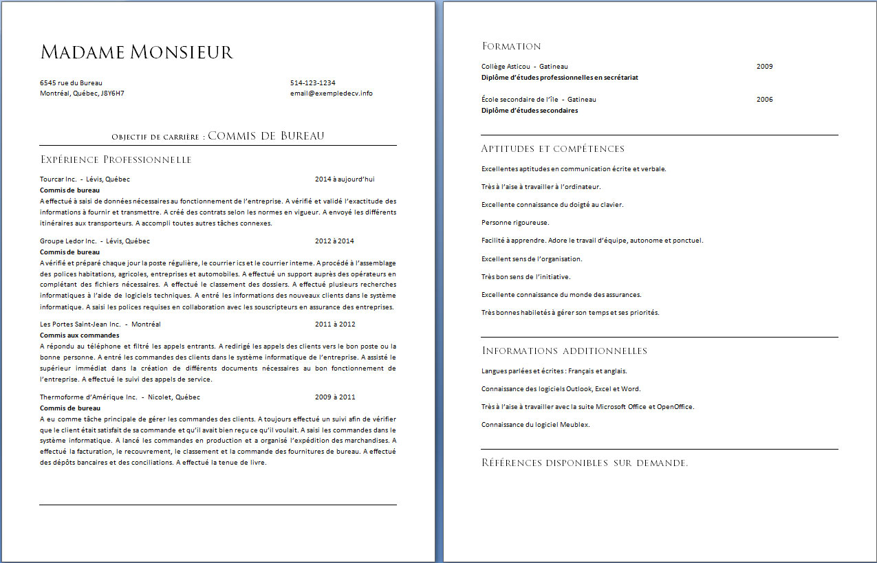 objectif de carriere cv exemple