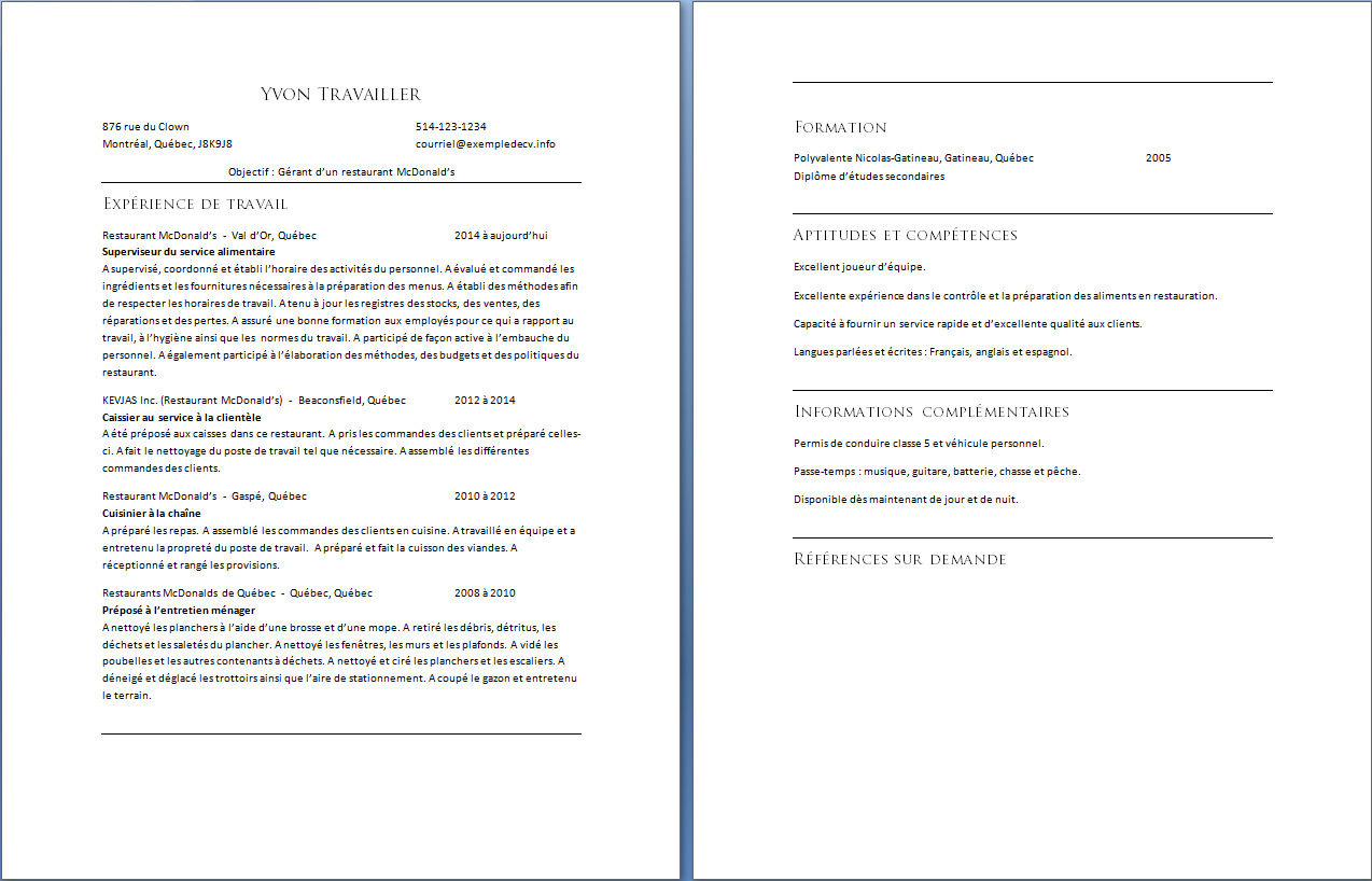 restauration mcdonald competence cv