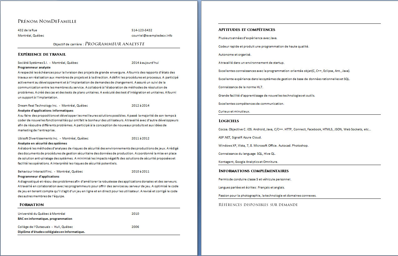 cv quebecois informatique