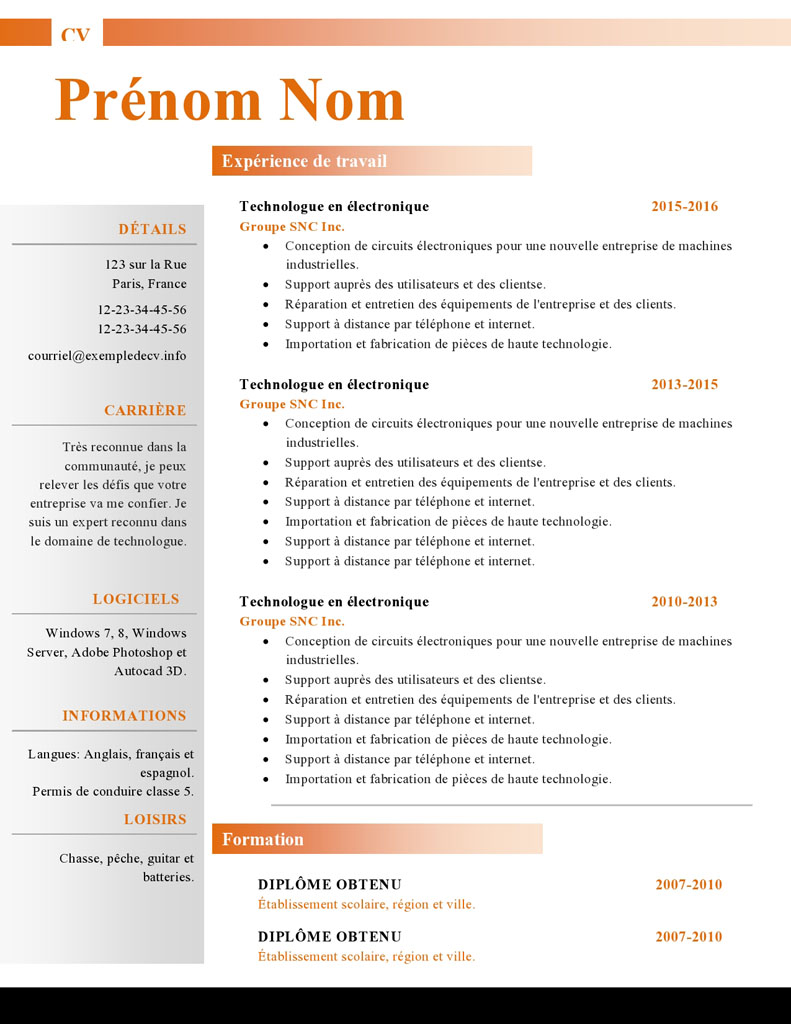 cv pole emploi neutre animaeur