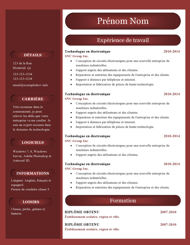 cv receptionniste exemple