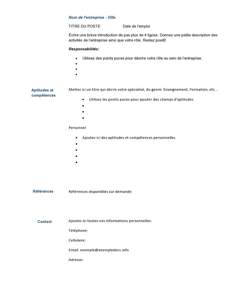 model de cv pour formation