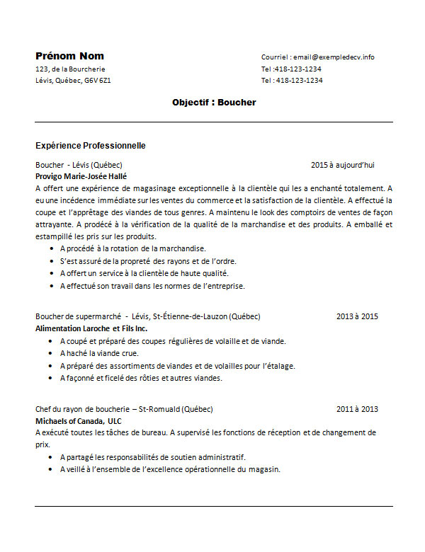 exemple cv chef boucher