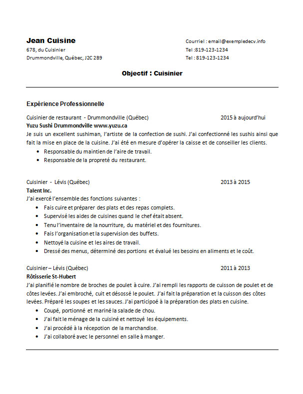 cv exemple restauration cuisinier