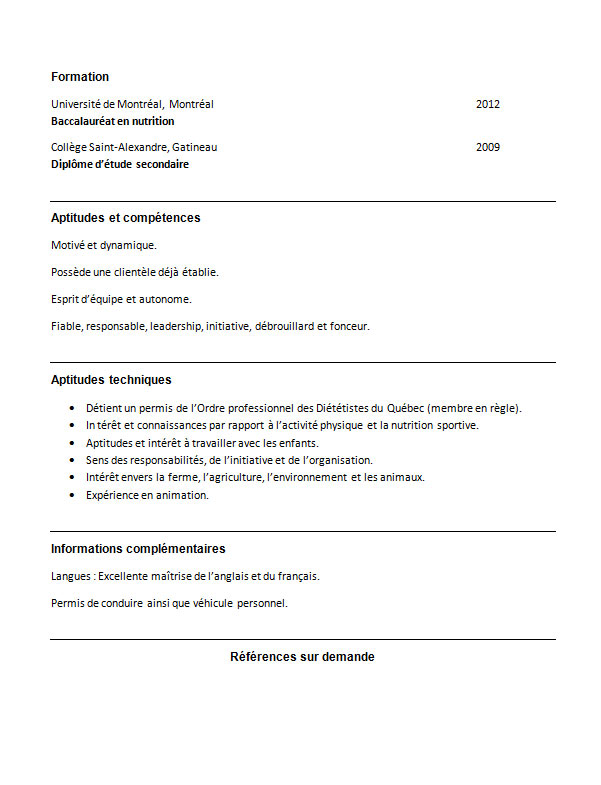 exemple de cv pour dieteticienne