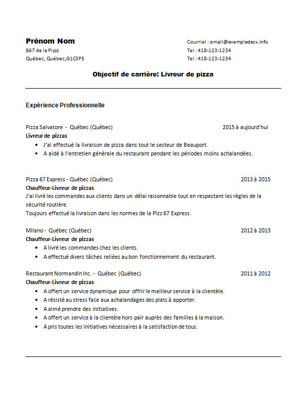 cv livreur de pizza word