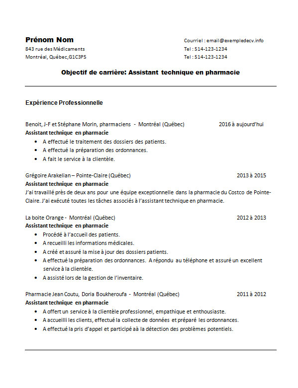 exemple de cv assistant technique en pharmacie