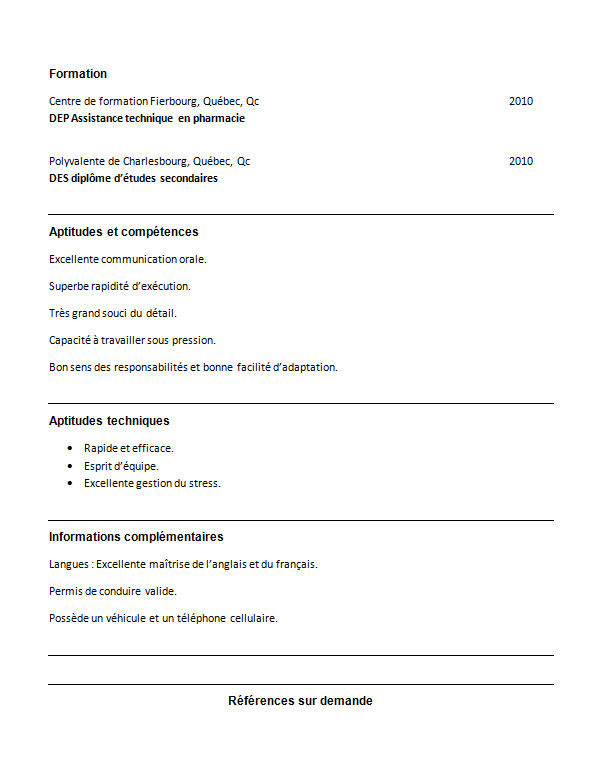 exemple de cv preparatrice en pharmacie