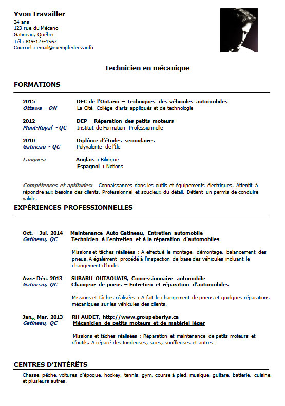 exemple cv apprentissage mecanique word