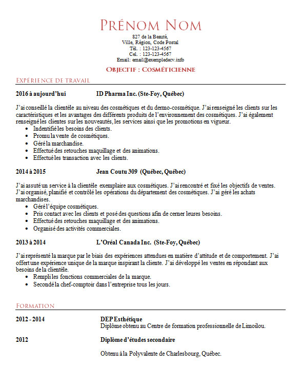 cv exemple estheticienne competences