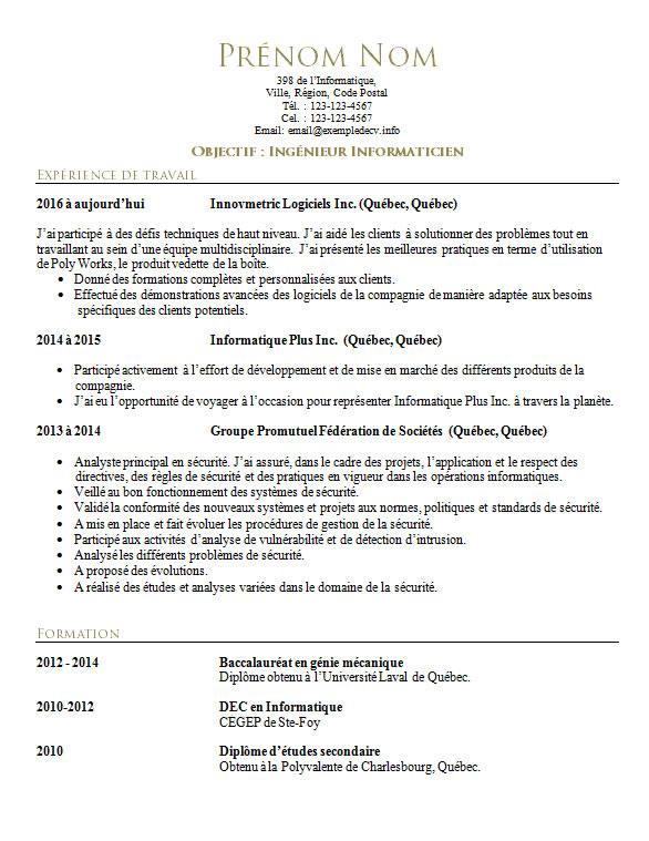 cv ingenieur securite informatique stage