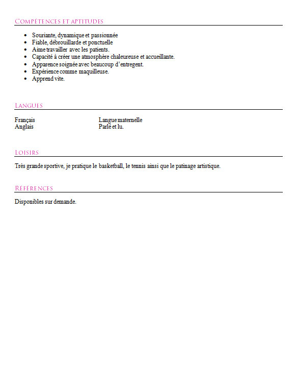 cv exemple for estheticien