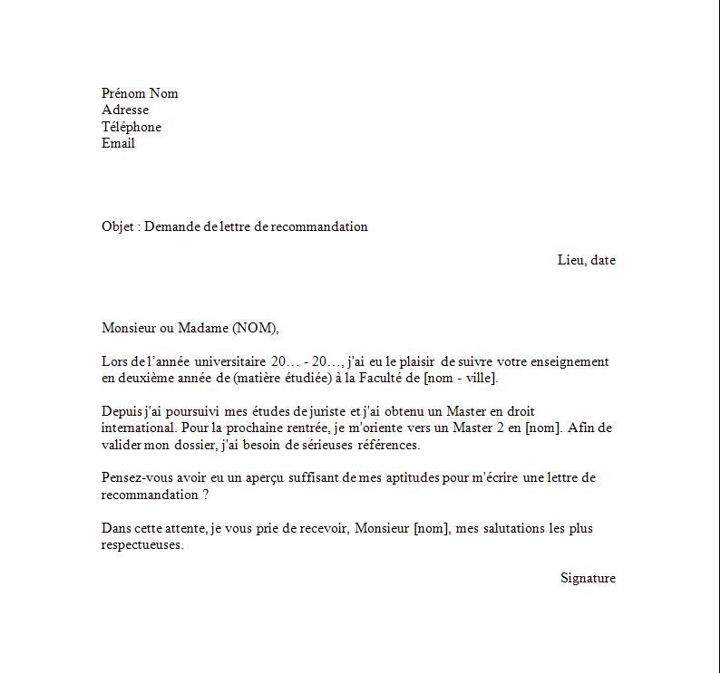 Exemple de demande de lettre de recommandation Exemples de CV