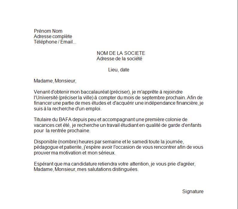 lettre de cv pour baby sitting