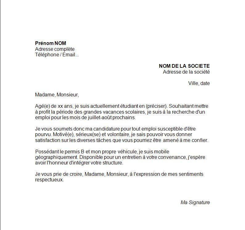 cv lettre motivation job ete