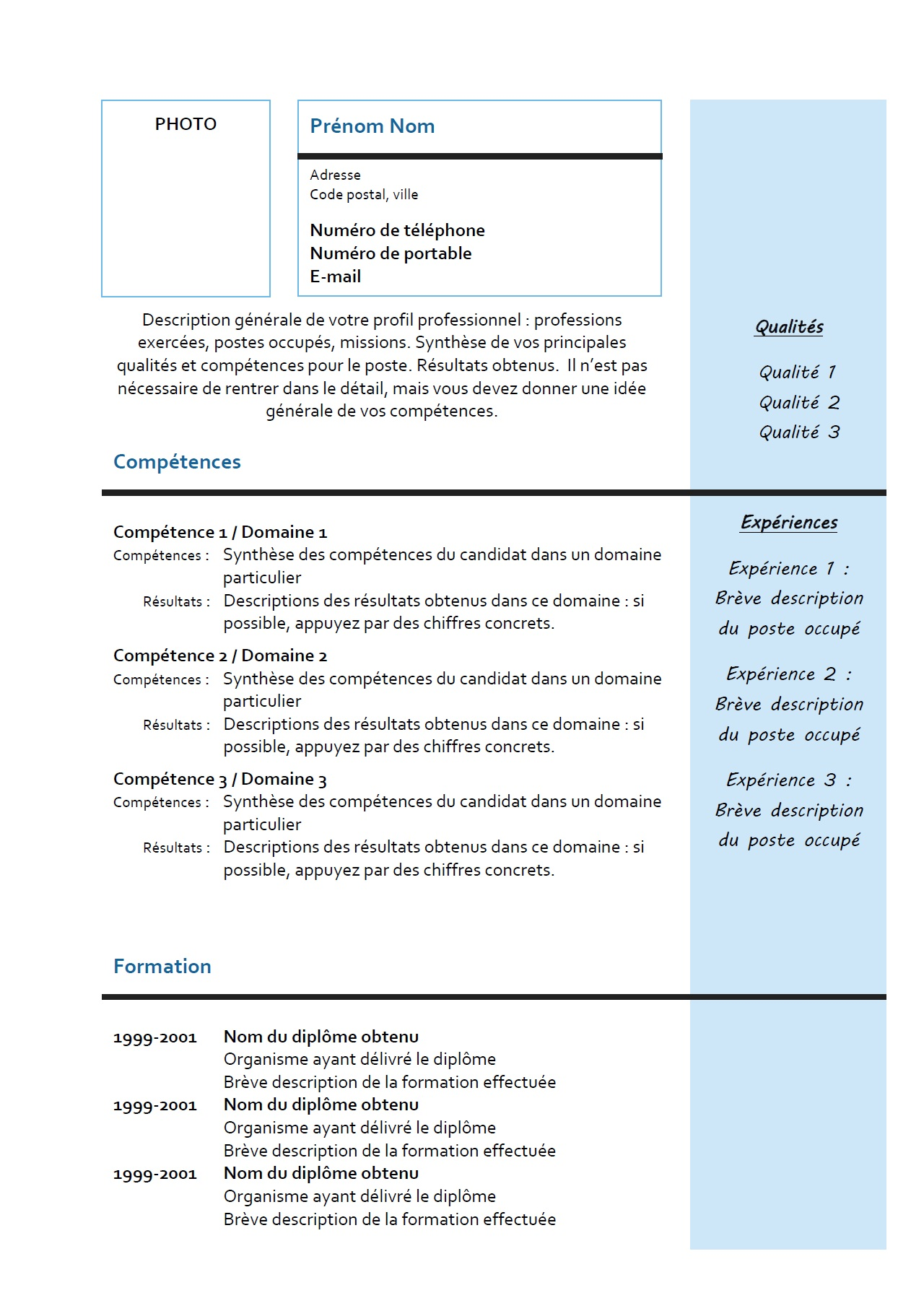 exemple de description cv