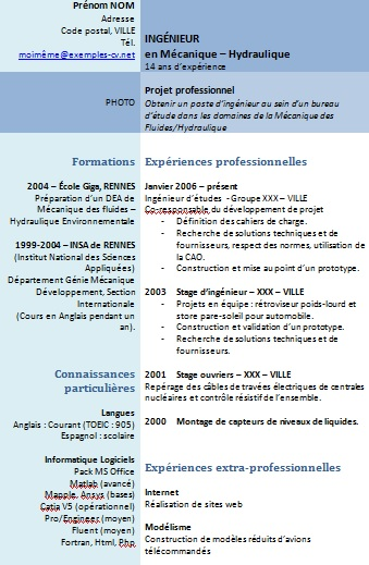 cv redaction exemple
