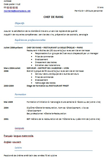 exemple cv restauration brevet professionnel