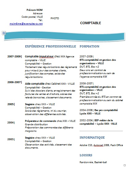 cv formation comptable assistante