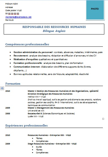 cv ressources humaines exemple